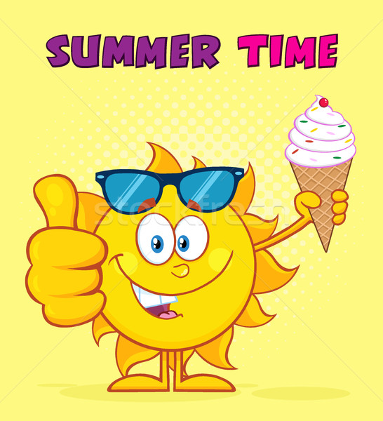 Cute Sun Character With Sunglasses Holding A Ice Cream Showing Thumb Up. Illustration With Yellow Su Stock photo © hittoon