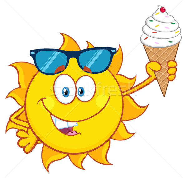 Stock photo: Cute Sun Cartoon Mascot Character With Sunglasses Holding A Water Bottle With Text