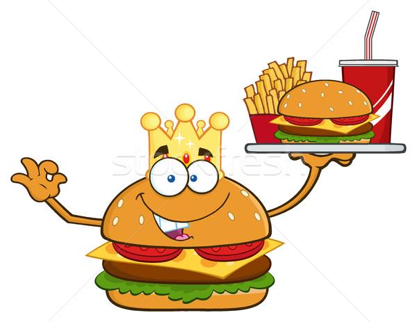 Kral Burger karikatür maskot karakter patates kızartması Stok fotoğraf © hittoon