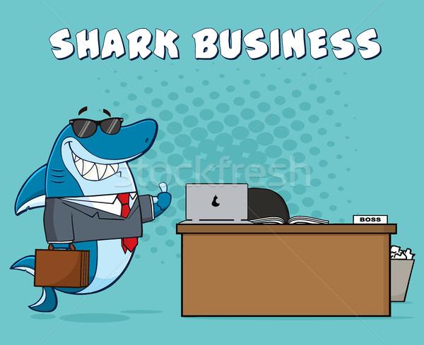 Mosolyog üzlet főnök cápa rajzfilm kabala karakter Stock fotó © hittoon