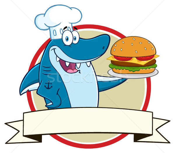 Chef Blue Shark Cartoon Mascot Character Holding A Big Burger Over A Ribbon Banner Stock photo © hittoon