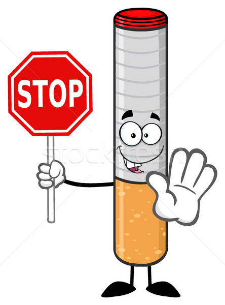 Electronic Cigarette Cartoon Mascot Character Gesturing And Holding A Stop Sign Stock photo © hittoon