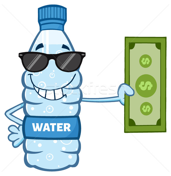 Cartoon Illustation Of A Water Plastic Bottle Cartoon Mascot Character With Sunglasses Holding A Dol Stock photo © hittoon