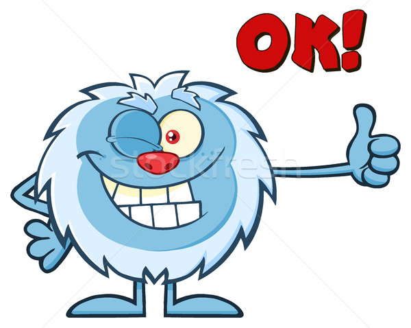 Cute Little Yeti Cartoon Mascot Character Winking And Holding A Thumb Up Stock photo © hittoon