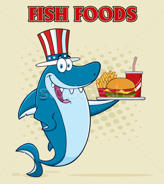 American Blue Shark Cartoon Mascot Character With Patriotic Hat Holding A Platter With Burger, Frenc Stock photo © hittoon