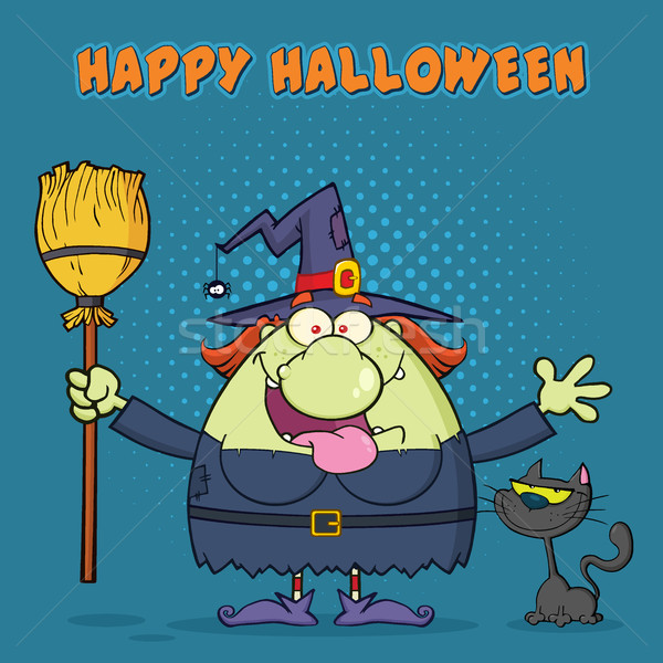 Happy Witch Cartoon Mascot Character Holding A Broom With Black Cat Stock photo © hittoon