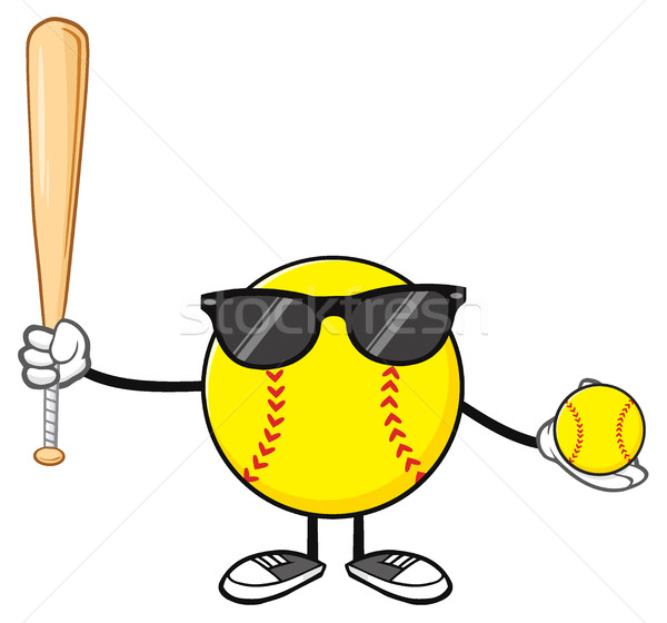 Softball Faceless Player Cartoon Mascot Character With Sunglasses Holding A Bat And Ball Stock photo © hittoon