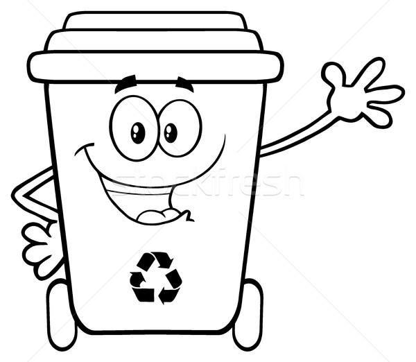 Preto e branco feliz reciclar mascote Foto stock © hittoon