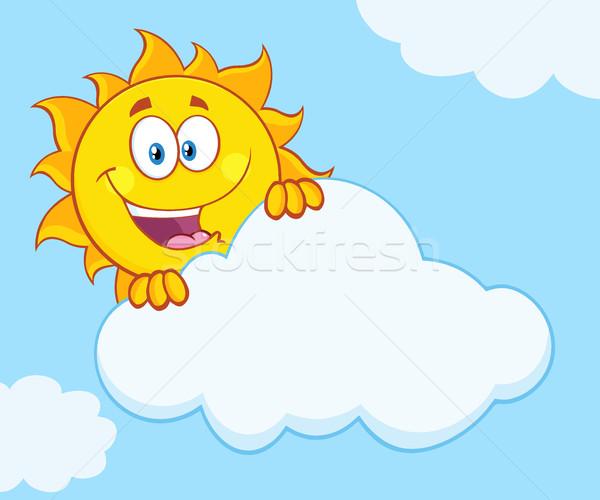 Mutlu yaz güneş maskot gizleme Stok fotoğraf © hittoon