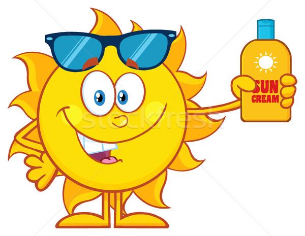 Cute Sun Cartoon Character With Sunglasses Holding A Bottle Of Sun Block Cream Stock photo © hittoon