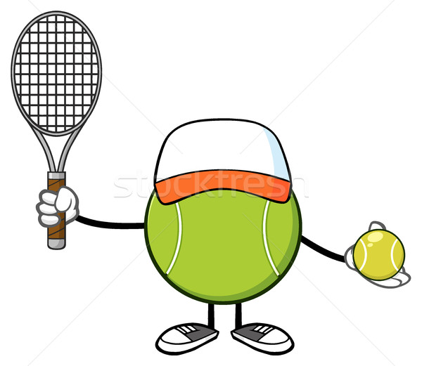 Tennis Ball Faceless Player Cartoon Mascot Character With Hat Holding A Tennis Ball And Racket Stock photo © hittoon