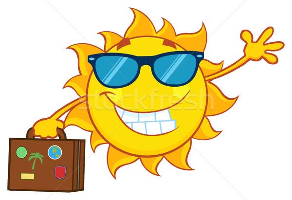 Foto stock: Sorridente · verão · sol · mascote · óculos · de · sol