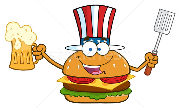 Happy American Burger Cartoon Mascot Character Holding A Beer And Bbq Slotted Spatula Stock photo © hittoon