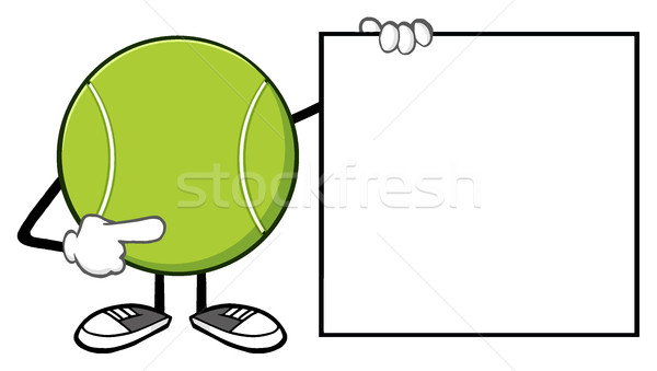 Tennis Ball Faceless Cartoon Mascot Character Pointing To A Blank Sign Banner Stock photo © hittoon