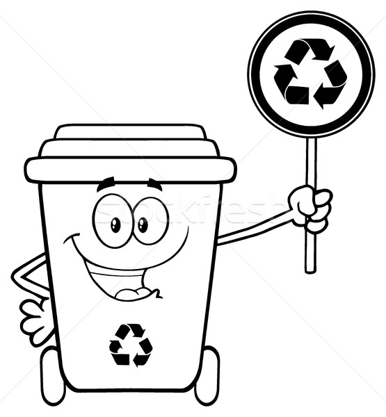 Black And White Cute Recycle Bin Cartoon Mascot Character Holding A Recycle Sign Stock photo © hittoon