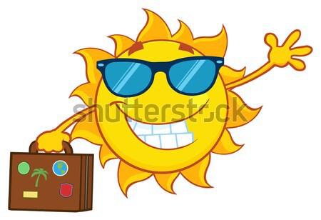 Parlando sole mascotte carattere occhiali da sole punta Foto d'archivio © hittoon