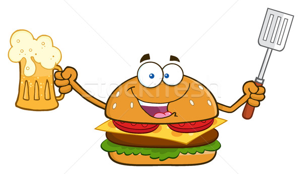 Happy Burger Cartoon Mascot Character Holding A Beer And Bbq Slotted Spatula Stock photo © hittoon