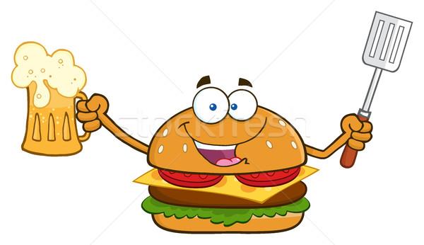 Felice burger mascotte carattere birra Foto d'archivio © hittoon