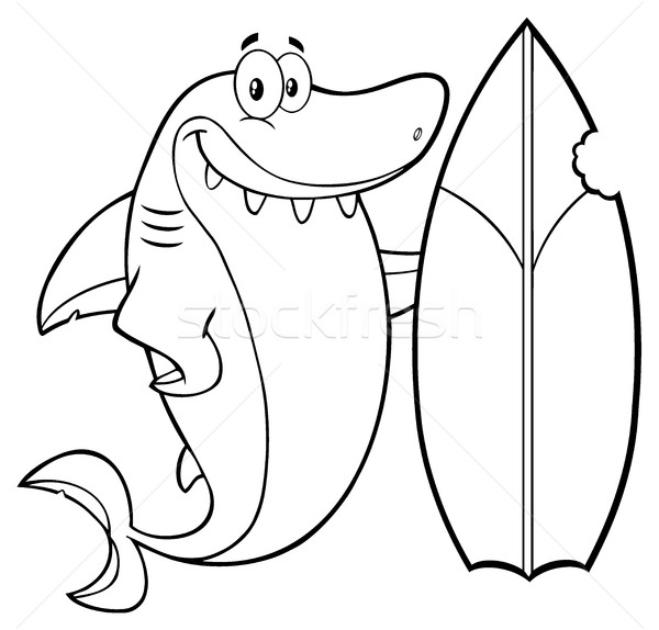 Black And White Smiling Shark Cartoon Mascot Character With Surfboard Stock photo © hittoon