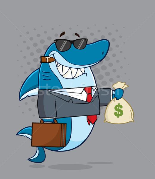 Foto stock: Sorridente · negócio · patrão · tubarão · mascote