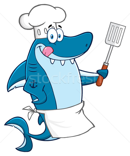 Chef Blue Shark Cartoon Mascot Character Licking His Lips And Holding A Spatula Stock photo © hittoon