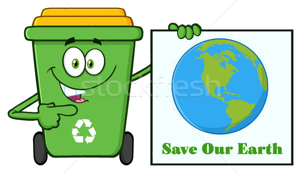Cute groene recycleren cartoon mascotte karakter Stockfoto © hittoon