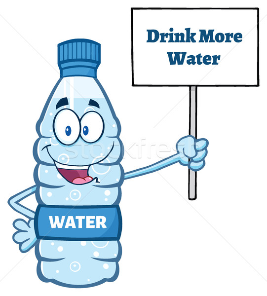 Cartoon Illustation Of A Water Plastic Bottle Mascot Character Holding Up A Sign With Text Drink Mor Stock photo © hittoon