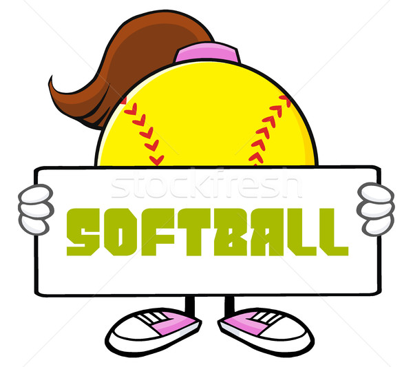 Softball Girl Faceless Cartoon Mascot Character Holding A Sign Stock photo © hittoon