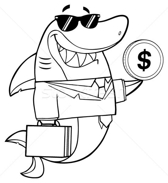 Feketefehér mosolyog üzlet cápa rajzfilm kabala karakter Stock fotó © hittoon