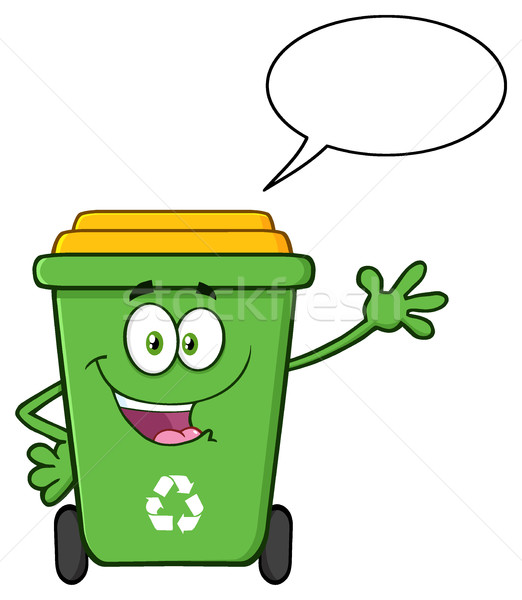 Cute Green Recycle Bin Cartoon Mascot Character Waving For Greeting With Speech Bubble Stock photo © hittoon