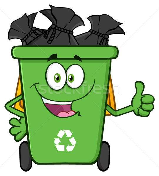Happy Green Recycle Bin Cartoon Mascot Character Full With Garbage Bags Giving A Thumb Up Stock photo © hittoon
