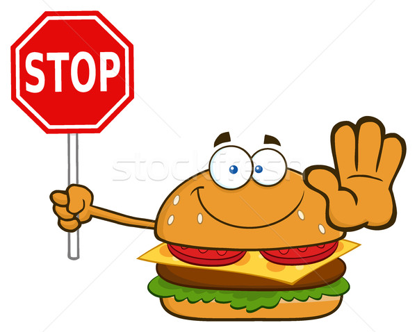 Glimlachend hamburger cartoon mascotte karakter stopteken Stockfoto © hittoon