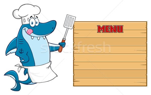 Chef Blue Shark Cartoon Mascot Character Licking His Lips And Holding A Spatula To Wooden Blank Boar Stock photo © hittoon
