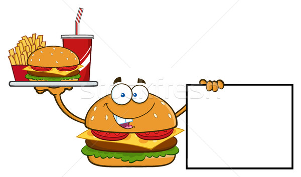 Hamburger cartoon mascotte karakter soda Stockfoto © hittoon