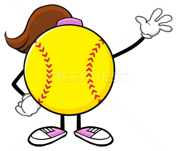 Softball Girl Faceless Cartoon Mascot Character Waving For Greeting Stock photo © hittoon