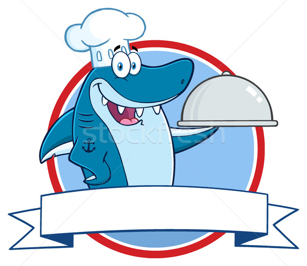 Chef Blue Shark Cartoon Mascot Character Holding A Platter Over A Ribbon Banner Stock photo © hittoon