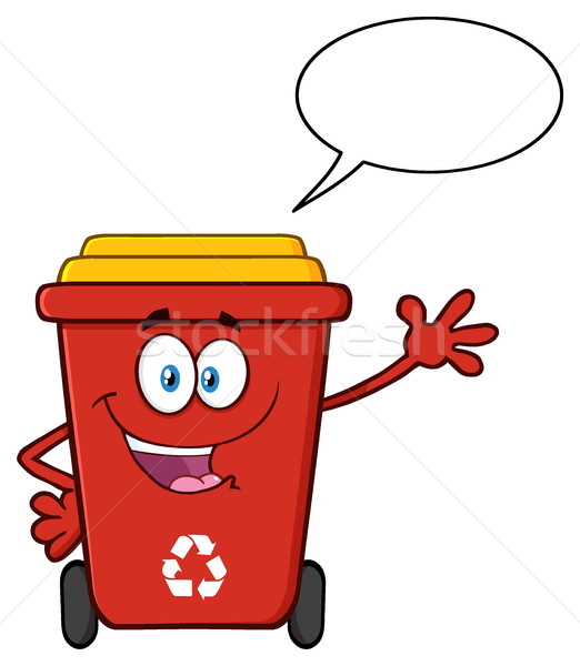 Cute Red Recycle Bin Cartoon Mascot Character Waving For Greeting With Speech Bubble Stock photo © hittoon