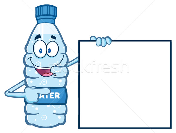 Cartoon Illustation Of A Water Plastic Bottle Mascot Character Holding And Pointing To A Blank Banne Stock photo © hittoon
