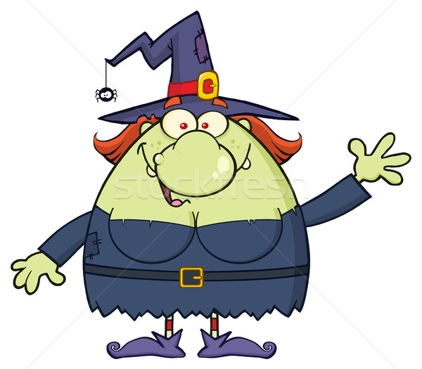 Ugly Witch Cartoon Mascot Character Waving For Greeting Stock photo © hittoon
