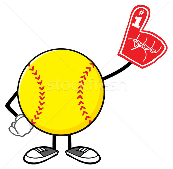 Softball Faceless Cartoon Mascot Character Wearing A Foam Finger Stock photo © hittoon