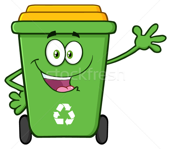 Happy Green Recycle Bin Cartoon Mascot Character Waving For Greeting Stock photo © hittoon