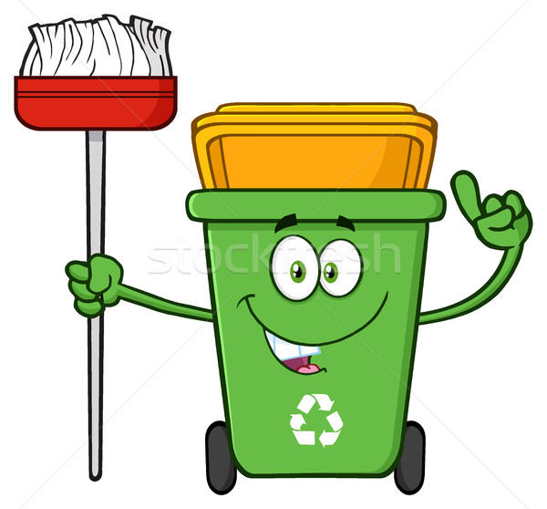 Praten groene recycleren cartoon mascotte karakter Stockfoto © hittoon