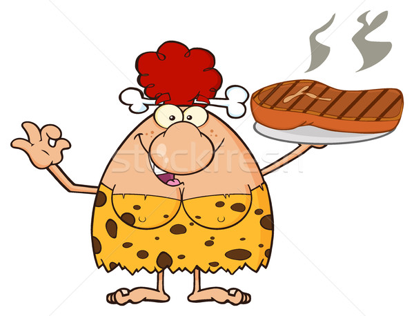 Red Hair Cave Woman Cartoon Mascot Character Holding Up A Platter With Big Grilled Steak And Gesturi Stock photo © hittoon