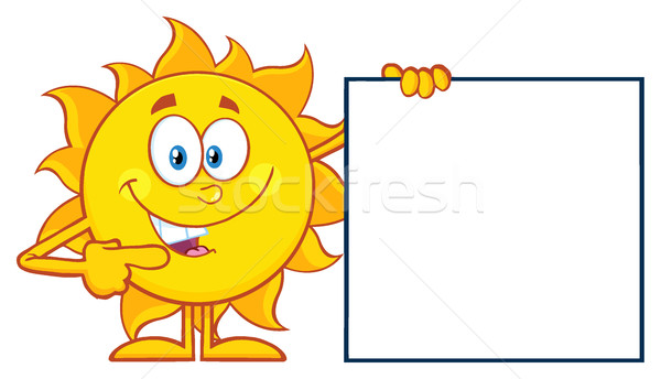 Talking Sun Cartoon Mascot Character Pointing To A Blank Sign Stock photo © hittoon