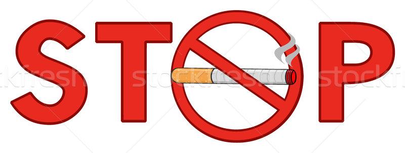 Rouge arrêter fumer signe texte cigarette Photo stock © hittoon