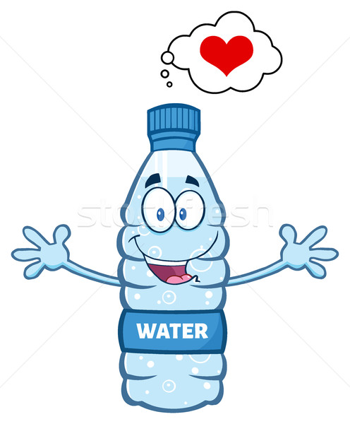 Cartoon eau plastique bouteille mascotte personnage Photo stock © hittoon