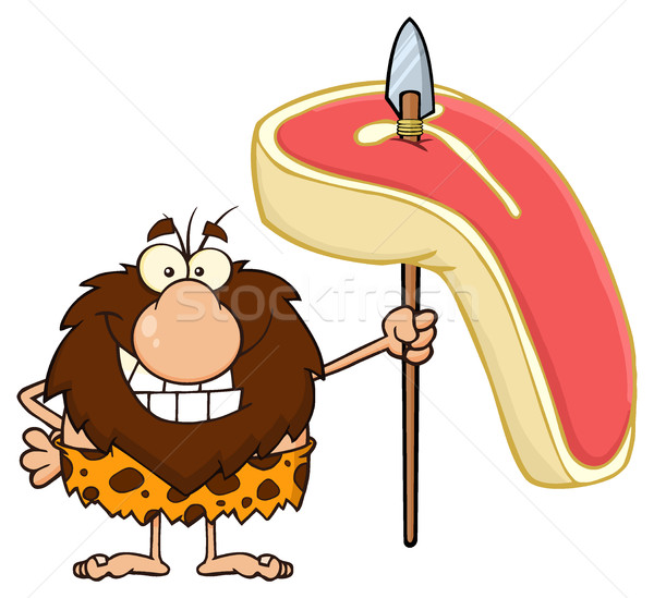 Smiling Male Caveman Cartoon Mascot Character Holding A Spear With Big Raw Steak Stock photo © hittoon