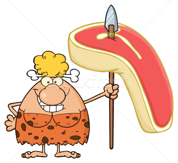 Smiling Blonde Cave Woman Cartoon Mascot Character Holding A Spear With Big Raw Steak Stock photo © hittoon