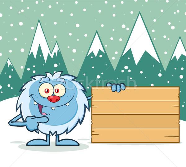 Aranyos kicsi rajzfilm kabala karakter mutat fából készült Stock fotó © hittoon