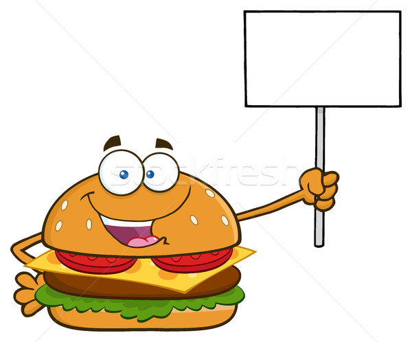 Burger Cartoon Mascot Character Holding A Blank Sign Stock photo © hittoon